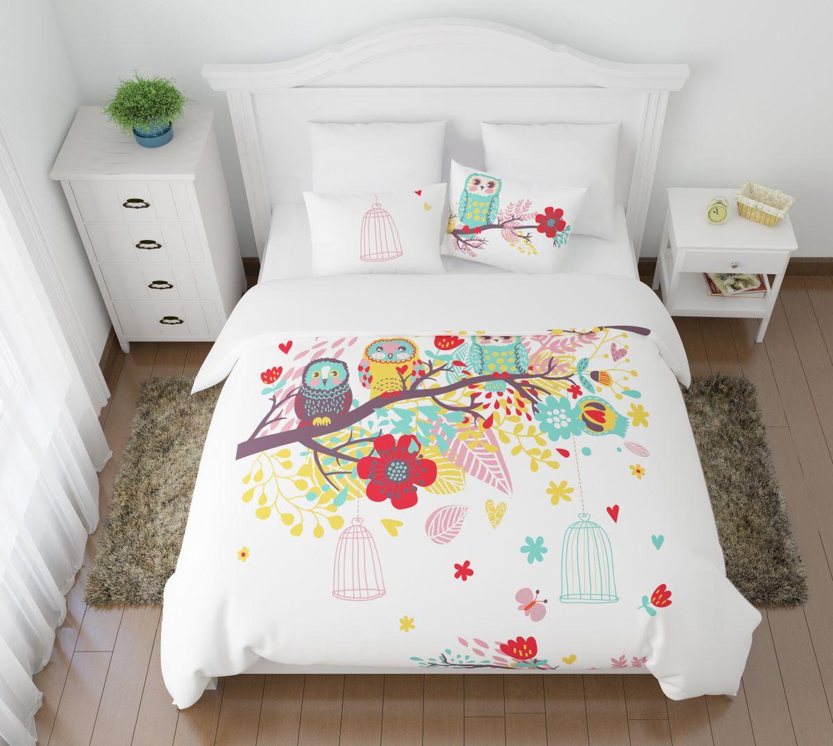 Комплект белья Сирень Волшебный сон, 1,5-спальный, наволочки 50x70391602Комплект постельного белья Сирень состоит из простыни, пододеяльника и 2 наволочек. Комплект выполнен из современных гипоаллергенных материалов. Приятный при прикосновении сатин - гарантия здорового, спокойного сна. Ткань хорошо впитывает влагу, надолго сохраняет яркость красок. Четкий, изящный рисунок в сочетании с насыщенными красками делает комплект постельного белья неповторимой изюминкой любого интерьера. Постельное белье идеально подойдет для подарка. .