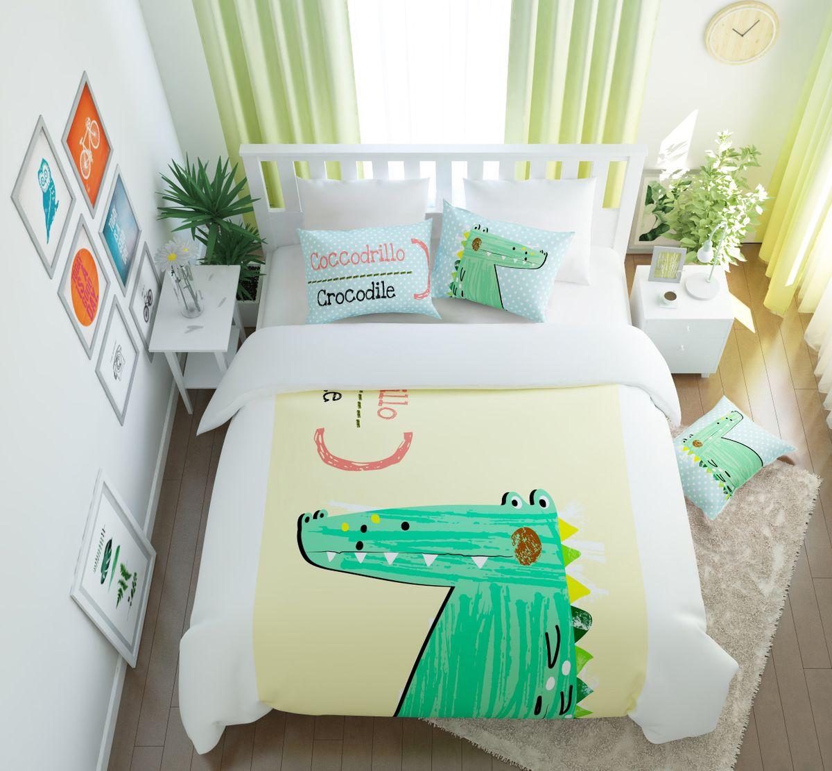 Комплект белья Сирень Счастливый крокодил, 1,5-спальный, наволочки 50x704630003364517Комплект постельного белья Сирень состоит из простыни, пододеяльника и 2 наволочек. Комплект выполнен из современных гипоаллергенных материалов. Приятный при прикосновении сатин - гарантия здорового, спокойного сна. Ткань хорошо впитывает влагу, надолго сохраняет яркость красок. Четкий, изящный рисунок в сочетании с насыщенными красками делает комплект постельного белья неповторимой изюминкой любого интерьера. Постельное белье идеально подойдет для подарка.