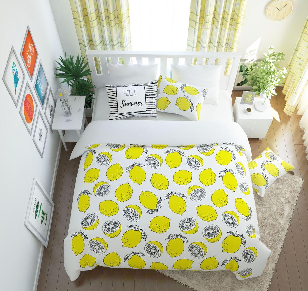 Комплект белья Сирень Лимонный фреш, 1,5-спальный, наволочки 50x70391602Комплект постельного белья Сирень Лимонный фреш состоит из простыни, пододеяльника и 2 наволочек. Комплект выполнен из современных гипоаллергенных материалов. Приятный при прикосновении сатин - гарантия здорового, спокойного сна. Ткань хорошо впитывает влагу, надолго сохраняет яркость красок. Четкий, изящный рисунок в сочетании с насыщенными красками делает комплект постельного белья неповторимой изюминкой любого интерьера. Постельное белье идеально подойдет для подарка.