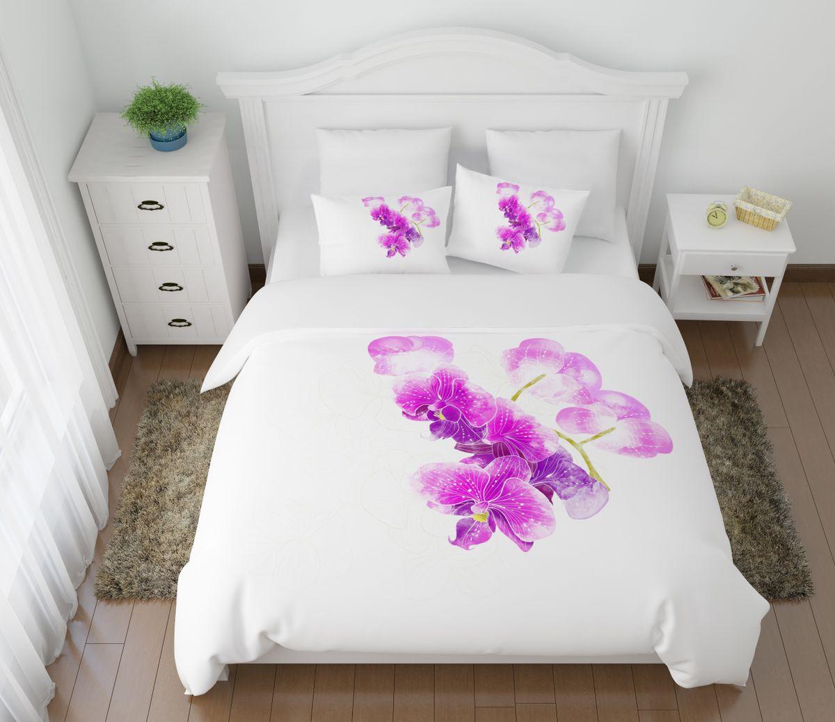 Комплект белья Сирень Ветка орхидеи, 1,5-спальный, наволочки 50x70391602Комплект постельного белья Сирень состоит из простыни, пододеяльника и 2 наволочек. Комплект выполнен из современных гипоаллергенных материалов. Приятный при прикосновении сатин - гарантия здорового, спокойного сна. Ткань хорошо впитывает влагу, надолго сохраняет яркость красок. Четкий, изящный рисунок в сочетании с насыщенными красками делает комплект постельного белья неповторимой изюминкой любого интерьера. Постельное белье идеально подойдет для подарка.