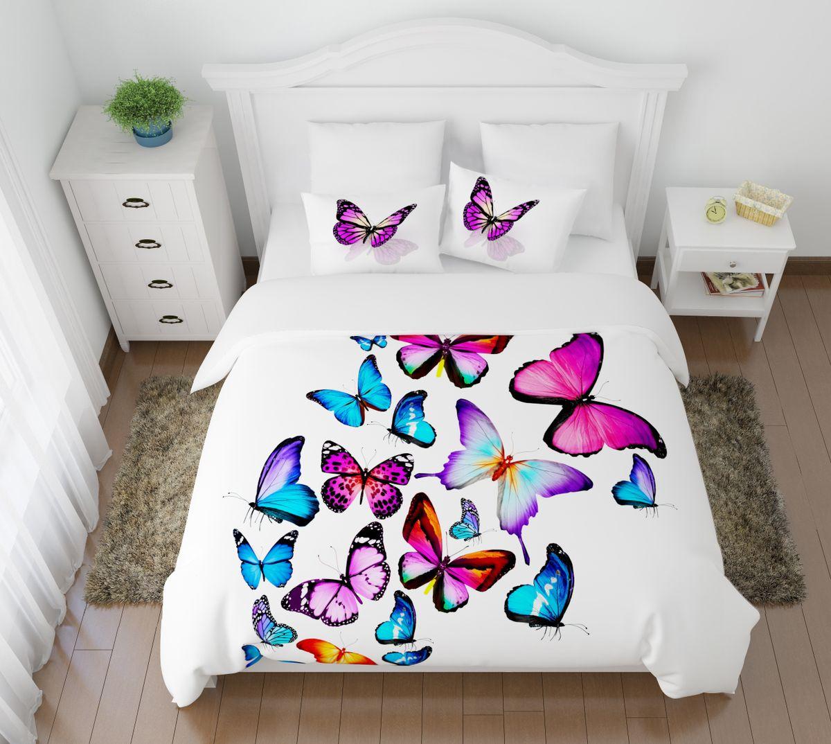 Комплект белья Сирень Яркие бабочки, 1,5-спальный, наволочки 50x70391602Комплект постельного белья Сирень состоит из простыни, пододеяльника и 2 наволочек. Комплект выполнен из современных гипоаллергенных материалов. Приятный при прикосновении сатин - гарантия здорового, спокойного сна. Ткань хорошо впитывает влагу, надолго сохраняет яркость красок. Четкий, изящный рисунок в сочетании с насыщенными красками делает комплект постельного белья неповторимой изюминкой любого интерьера. Постельное белье идеально подойдет для подарка.