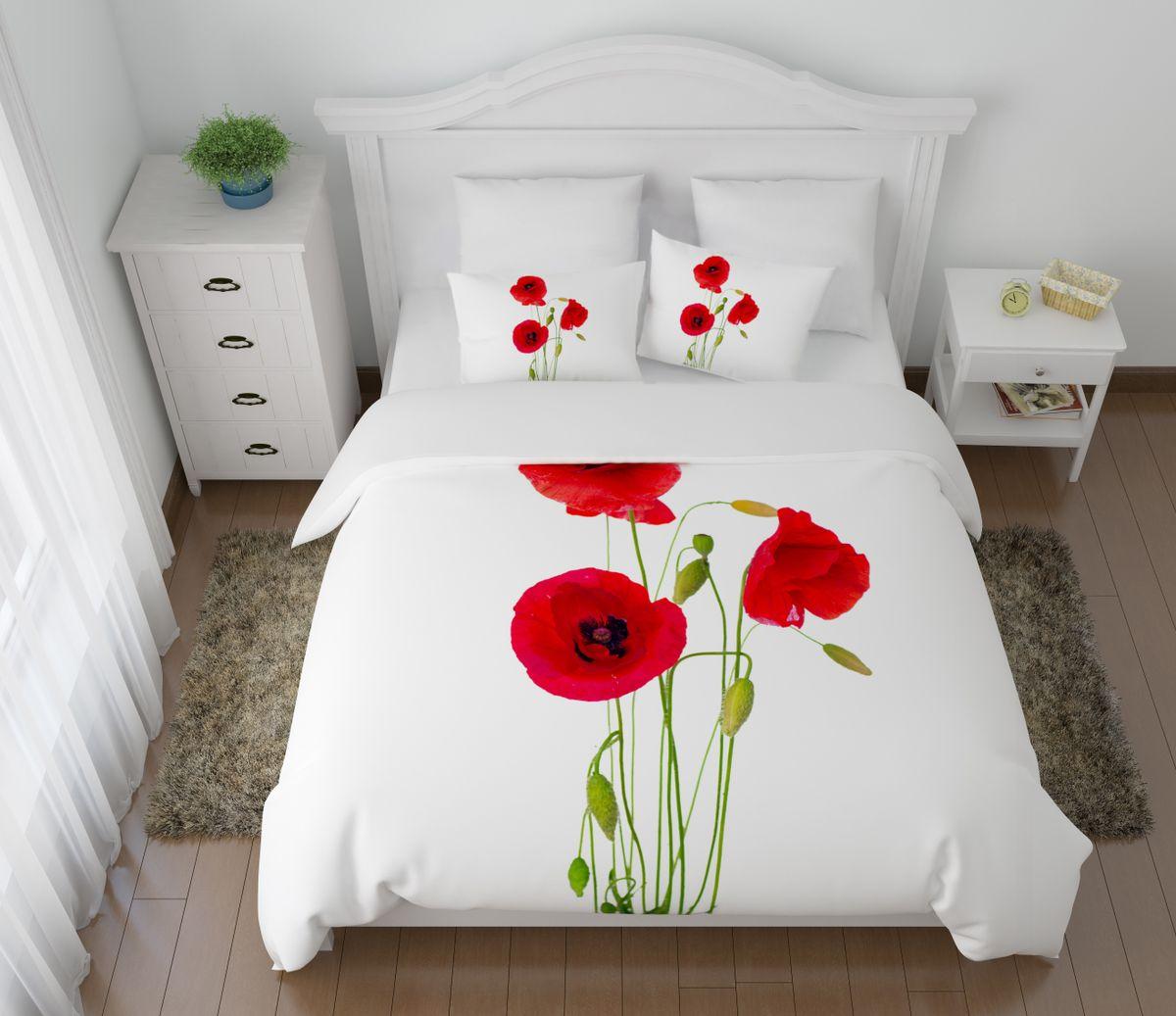Комплект белья Сирень Выразительные маки, 1,5-спальный, наволочки 50x70391602Комплект постельного белья Сирень состоит из простыни, пододеяльника и 2 наволочек. Комплект выполнен из современных гипоаллергенных материалов. Приятный при прикосновении сатин - гарантия здорового, спокойного сна. Ткань хорошо впитывает влагу, надолго сохраняет яркость красок. Четкий, изящный рисунок в сочетании с насыщенными красками делает комплект постельного белья неповторимой изюминкой любого интерьера. Постельное белье идеально подойдет для подарка.