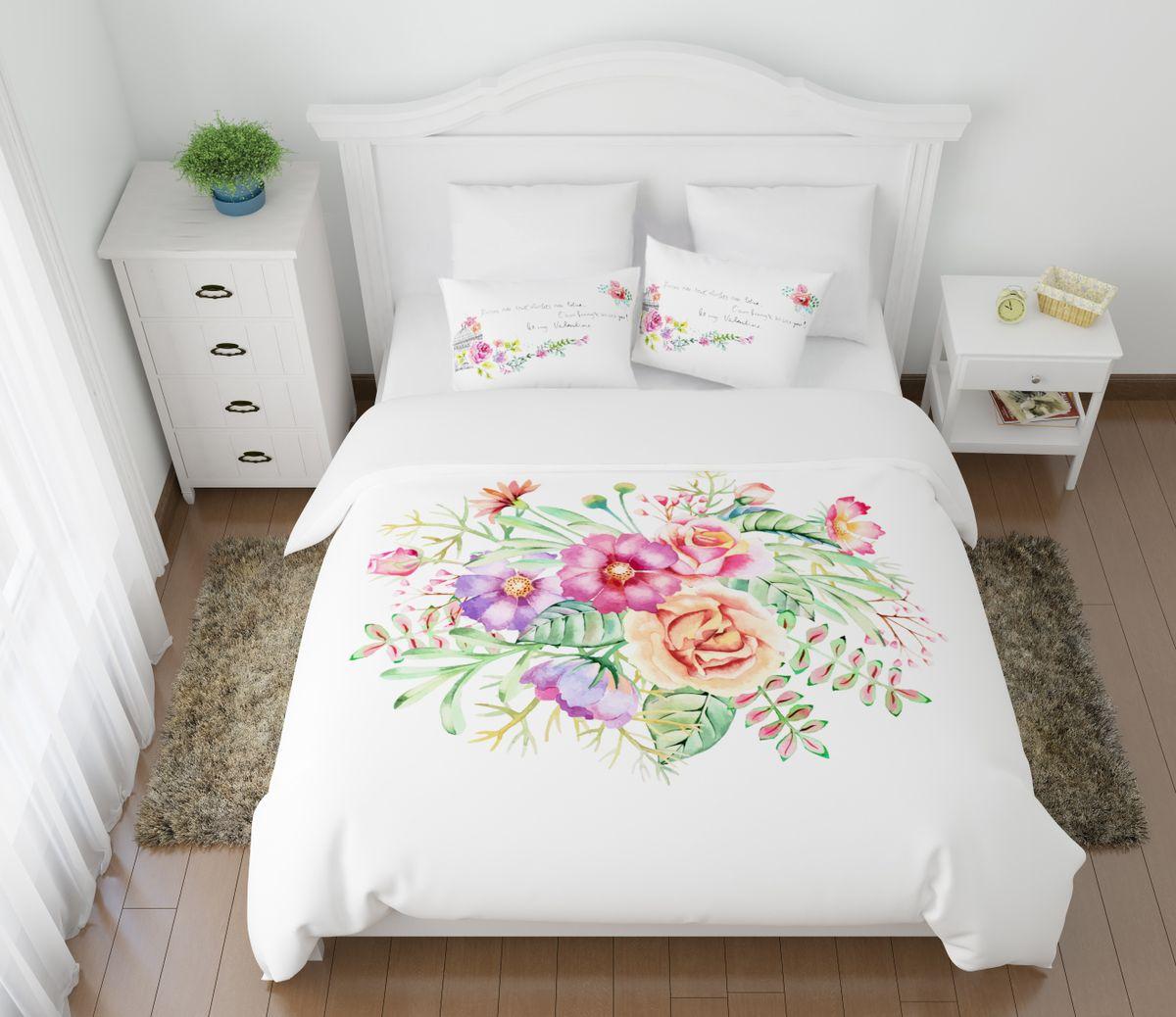 Комплект белья Сирень Вальс цветов, 1,5-спальный, наволочки 50x70391602Комплект постельного белья Сирень состоит из простыни, пододеяльника и 2 наволочек. Комплект выполнен из современных гипоаллергенных материалов. Приятный при прикосновении сатин - гарантия здорового, спокойного сна. Ткань хорошо впитывает влагу, надолго сохраняет яркость красок. Четкий, изящный рисунок в сочетании с насыщенными красками делает комплект постельного белья неповторимой изюминкой любого интерьера. Постельное белье идеально подойдет для подарка.