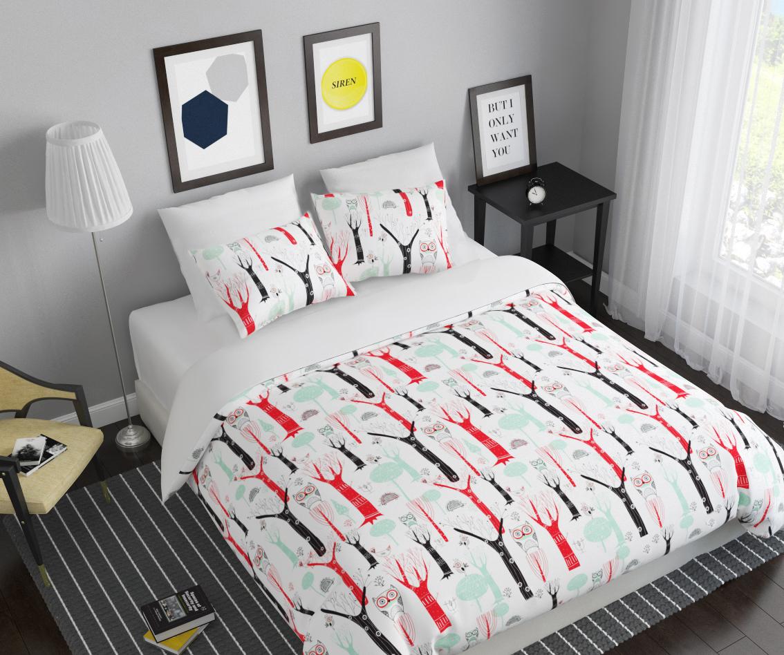 Комплект белья Сирень Заколдованный лес, 1,5-спальный, наволочки 50x7010503Комплект постельного белья Сирень состоит из простыни, пододеяльника и 2 наволочек. Комплект выполнен из современных гипоаллергенных материалов. Приятный при прикосновении сатин - гарантия здорового, спокойного сна. Ткань хорошо впитывает влагу, надолго сохраняет яркость красок. Четкий, изящный рисунок в сочетании с насыщенными красками делает комплект постельного белья неповторимой изюминкой любого интерьера. Постельное белье идеально подойдет для подарка.