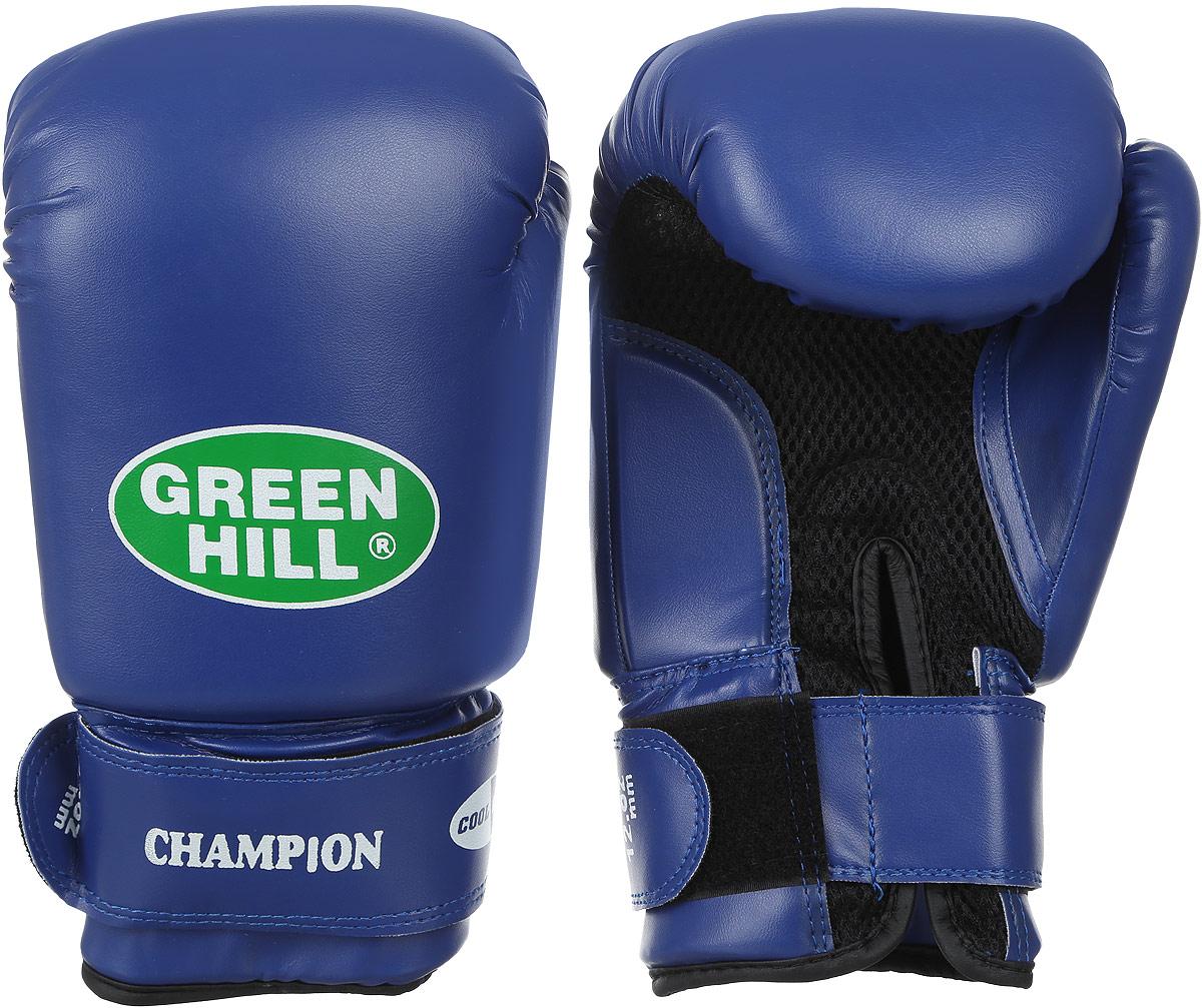 Боксерские перчатки Green Hill Champion, цвет: темно-синий. BGC-2040bAIRWHEEL Q3-340WH-BLACKБоксерские перчатки Green Hill Champion выполнены из искусственной кожи и оформлены фирменным принтом. Наполнитель выполнен и полиуретана. На руке модель фиксируется с помощью ремешка с липучкой. Тыльная сторона изделие выполнена из сетчатого текстиля, который улучшает воздухообмен.