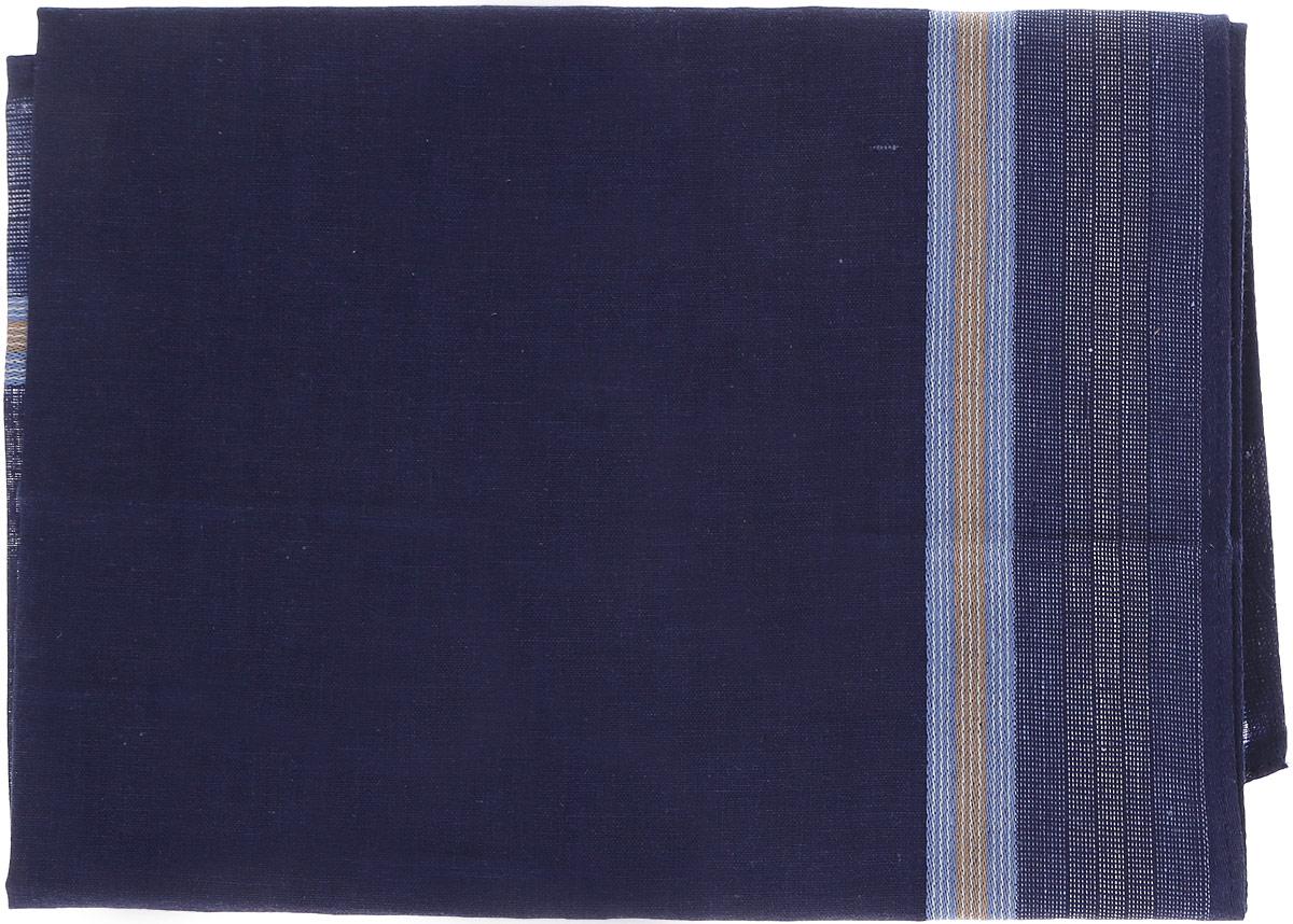 Платок носовой мужской Zlata Korunka, цвет: темно-синий. 45480. Размер 40 см х 40 смСерьги с подвескамиМужской носовой платок Zlata Korunka, изготовленный из хлопка с добавлением полиэстера, приятен в использовании и хорошо стирается. Материал не садится и отлично впитывает влагу. Модель оформлена по краям контрастными полосками.