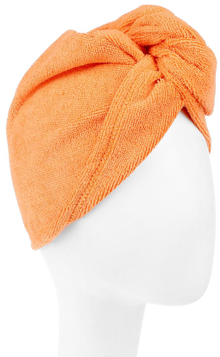 Чалма для сушки волос Eva, цвет: оранжевый68/5/3Чалма для сушки волос Eva выполнена из высококачественного полиэстера и полиамида. Изделие обеспечивает легкую и комфортную сушку волос после мытья, держится и выглядит лучше обычного полотенца. Чалма также может использоваться при нанесении макияжа и косметических процедурах, для защиты волос в сауне. Прекрасно впитывает влагу и подходит для волос любой длины.