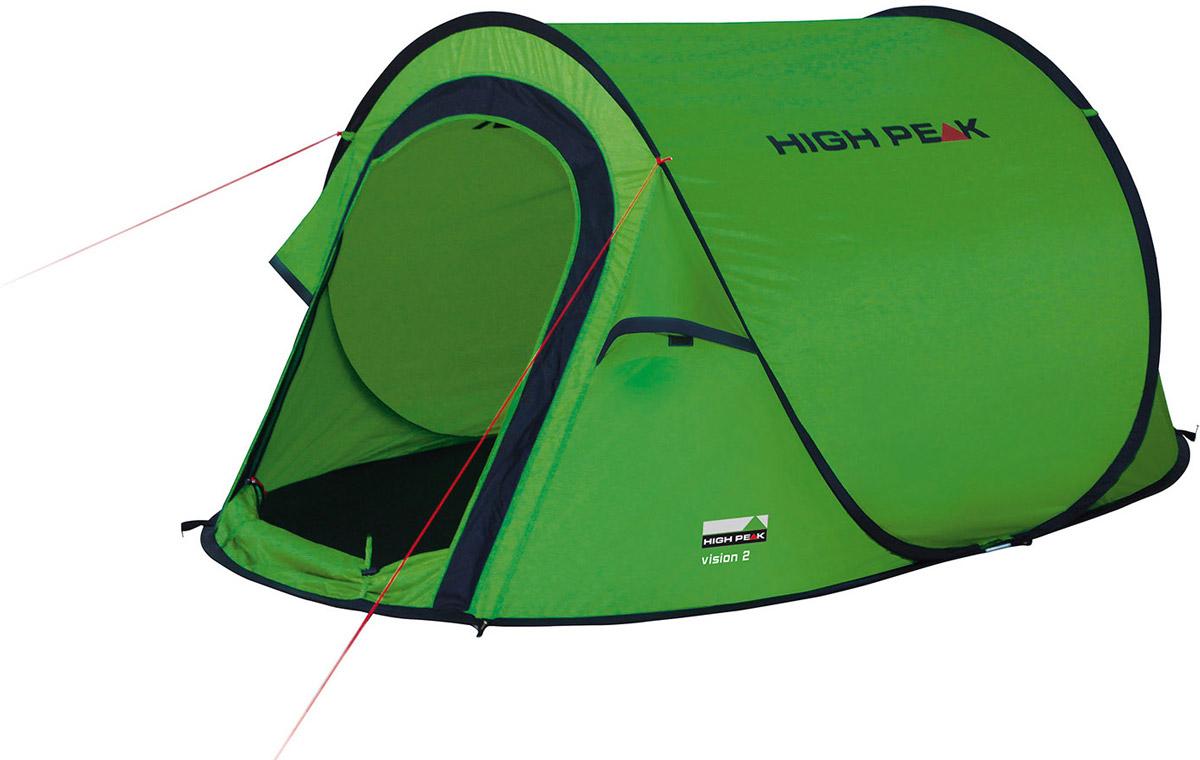 Палатка High Peak Vision 2, цвет: зеленый, 235 х 140 х 100 см. 1010810108Однослойная туристическая палатка High Peak Vision 2 оснащена системой быстрой установки. Эта система позволяет установить палатку в считанные секунды. Каркас палатки произведен из прочного эластичного фибергласса. Палатка имеет четыре оттяжки, что достаточно для фиксации даже в ветреную погоду. Четыре вентиляционных окна позволяют хорошо проветривать палатку даже при закрытом входе. Материал тента имеет полиуретановое покрытие и водонепроницаемость не менее 1500 мм водяного столба. Это позволяет защититься от летнего дождя. Все швы проклеены термоусадочной лентой, гарантирующей, что влага не проникнет внутрь. Длина 235 см, ширина 140 см и высота 100 см позволяют комфортно разместиться вдвоем, а при необходимости даже втроем. На входе окно с москитной сеткой. Вес всего 1,8 кг.Дуги: фибергласс 5 мм.Тент: полиэстер 190Т 1500 мм.Дно: полиэстер 3000 мм.