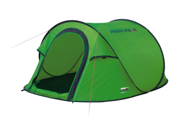 Палатка High Peak Vision 3, цвет: зеленый, 235 х 180 х 100 см. 1012310123Однослойная туристическая палатка High Peak Vision 3 оснащена системой быстрой установки. Эта система позволяет установить палатку в считанные секунды. Каркас палатки произведен из прочного эластичного фибергласса. Палатка имеет четыре оттяжки, что достаточно для фиксации даже в ветреную погоду. Четыре вентиляционных окна позволяют хорошо проветривать палатку даже при закрытом входе. Материал тента имеет полиуретановое покрытие и водонепроницаемость не менее 2000 мм водяного столба. Это позволяет защититься от летнего дождя. Все швы проклеены термоусадочной лентой, гарантирующей, что влага не проникнет сквозь них. В палатке имеются внутренние карманы для различных мелочей. Длина 235 см, ширина 180 см и высота 100 см позволяют комфортно разместиться втроем. На входе окно с москитной сеткой.Дуги: фиберглас 6 мм.Тент: полиэстер 190Т 1500 мм.Дно: полиэстер 3000 мм.