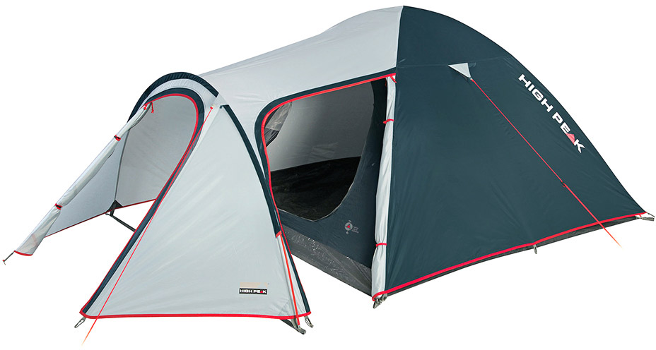 Палатка High Peak Kira 4, цвет: светло-серый, темно-серый, 340 х 240 х 130 см. 1021667742High Peak Kira 4 - это, пожалуй, самая комфортная палатка для путешествий с большим количеством снаряжения или велосипедами. Отлично подойдет для семейного отдыха, сплавов и даже на замену кемпинговой палатке. Выносная дуга формирует обширный тамбур для любого снаряжения, в том числе и кухни. Просторная спальня в 5 м2 комфортна для целой семьи. Палатка легко устанавливается за 5-7 минут. Сначала устанавливается внутренняя палатка из паропроницаемого материала. Если погода жаркая, и дождя не предвидится, то можно спать без внешнего тента. Если надо защититься от ветра и дождя, накиньте внешний тент и проденьте третью дугу в рукав тента. Материал тента имеет полиуретановое покрытие и водонепроницаемость не менее 3000 мм водяного столба. Это позволяет защититься от сильного ветра и дождя. Все швы проклеены термоусадочной лентой, гарантировано защищающей от проникновения влаги сквозь швы. При фиксации всех пяти оттяжек палатка имеет высокую ветроустойчивость. Окно для лучшей вентиляции находится в верхней точке купола палатки. Во внутренней палатке имеются кармашки для разных мелочей.Дуги: фибергласс 8,5 мм.Тент: полиэстер 3000 мм.Дно: армированный полиэтилен 3000 мм.