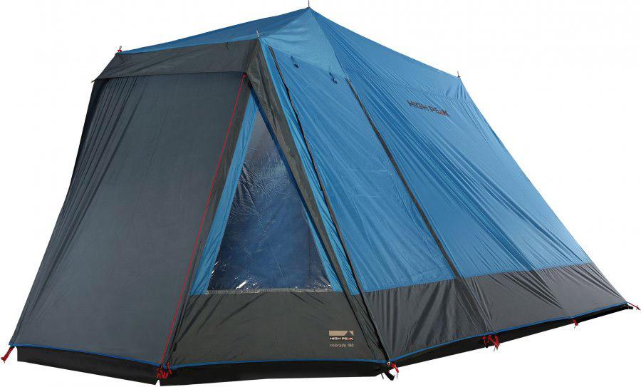 Палатка High Peak Colorado 180, цвет: синий, темно-серый, 440 х 240 х 190 см. 1025510255Семейная кемпинговая палатка классической конструкции домик. Обширный тамбур для багажа или кухни с торцевым и боковым входами и торцевыми окнами. По периметру тамбур закрывается юбкой от ветра, дождя и комаров. Большая спальня на четырех взрослых человек с входом, закрывающимся как тканевым пологом, так и москитной сеткой. Вход во внутреннюю палатку расстегивается на две равные половины. Если становится жарко, достаточно раскрыть пологи входа и оставить москитную сетку на входе для хорошей вентиляции. Материал тента имеет полиуретановое покрытие и водонепроницаемость не менее 2000 мм водяного столба, что защитит вас даже при сильном дожде. Все швы проклеены термоусадочной лентой, гарантирующей, что влага не проникнет сквозь них.