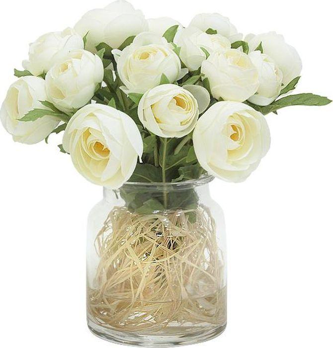 Цветы декоративные Dream Garden Купальницы белые, в стеклянной вазе цветы astrameriya