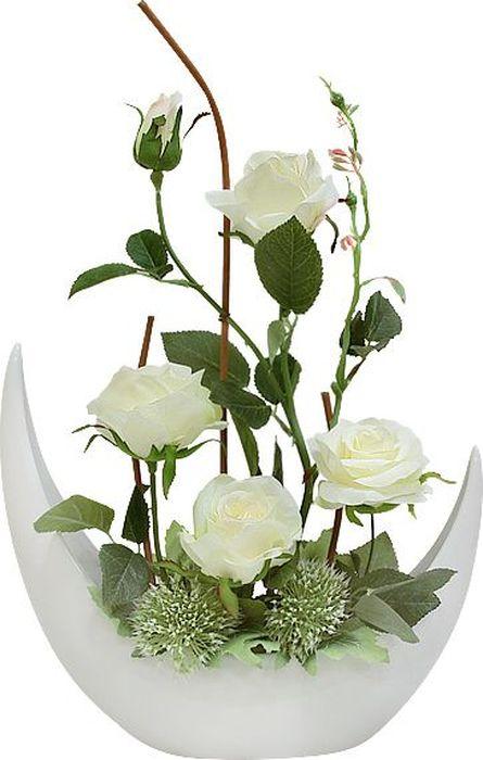 Цветы декоративные Dream Garden Розы белые, в керамической вазе цветы astrameriya