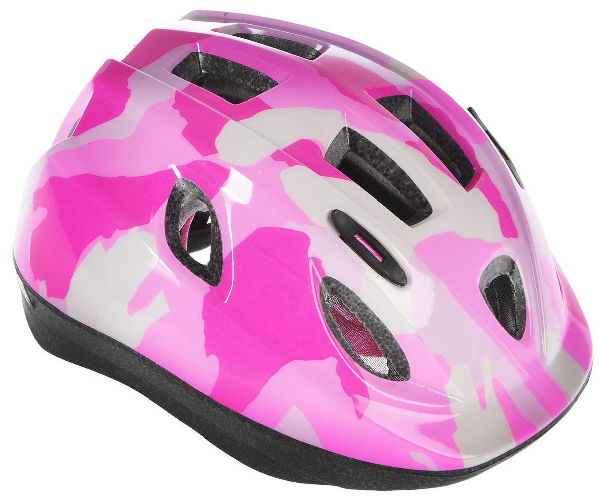 Шлем летний BBB Boogy. Камуфляж, цвет: розовый, белый. Размер MХ66762Детский шлем BBB Boogy. Камуфляж предназначен для велосипедистов, скейтбордистов и роллеров. Изделие снабжено настраиваемыми ремешками для максимально комфортной посадки. Система TwistClose - позволяет настроить шлем одной рукой. Увеличенное количество вентиляционных отверстий гарантирует отличную циркуляцию воздуха на разных скоростях движения при сохранении жесткости. Шлем оснащен съемными мягкими накладками с антибактериальными свойствами. Внутренняя часть изделия изготовлена из пенополистирола. Ее роль заключается в рассеивании энергии при ударе, что защищает голову. Верхняя часть шлема, выполненная из прочного пластика, препятствует разрушению изделия, защищает шлем от прокола и позволять ему скользить при ударах. Способность шлема скользить по поверхности является важной его характеристикой, так как при падении движение уменьшается не сразу, а постепенно, снижая тем самым нагрузку на голову и шею. Надежный шлем с ярким дизайном имеет светоотражающие наклейки на задней части изделия. Такой шлем обеспечит высокую степень защиты вашего ребенка. А 12 вентиляционных отверстий сделают катание максимально комфортным.Размер: M. Обхват головы ребенка 52-56 см.