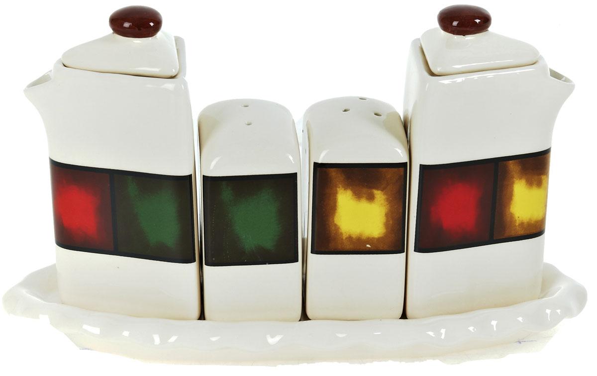 Набор для специй ENS Group Мармелад, 5 предметовLU-1853Набор для специй Мармелад выполнен из высококачественной керамики. Набор состоит из двух соусников, солонки, перечницы и подставки. Благодаря своим компактным размерам не займет много места на вашей кухне. Изделия декорированы ярким оригинальным орнаментом. Набор Мармелад станет отличным подарком каждой хозяйке.