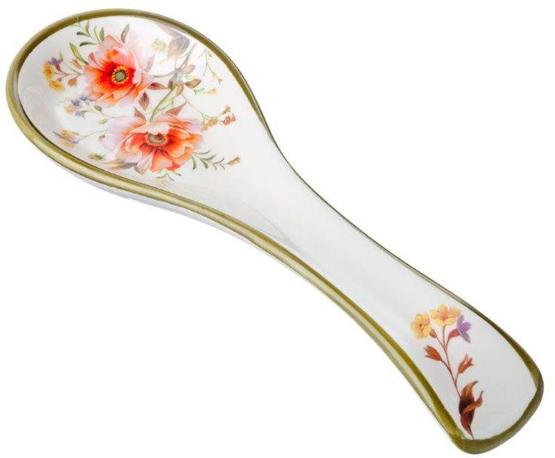Подставка под ложку Весна, длина 22,3 см115510Подставка для ложки Весна изготовлена из прочной керамики высокого качества. Данное изделие оформлено красочным цветочным дизайном. Подставка предназначена для поддержания чистоты на кухонном столе при приготовлении пищи. Поставьте ее рядом с плитой, и кладите на подставку ложку, половник или лопатку, которыми вы помешиваете блюда.