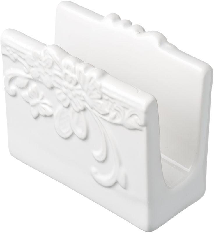 Салфетница Бабочка9971Салфетница Бабочка выполнена из высококачественной керамики белого цвета и украшена рельефным рисунком в виде узоров, бабочек и цветов. Такая салфетница изящно украсит ваш кухонный стол.