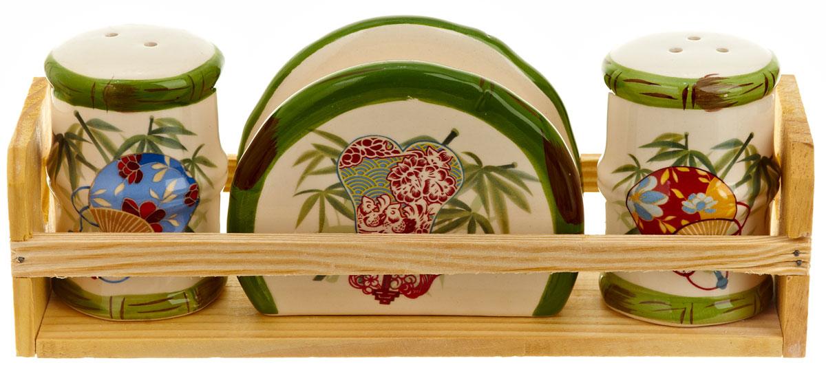 Набор для специй Polystar Harmony, 4 предмета21395599Набор для специй и салфетница Harmony выполнены из высококачественной керамики, на деревянной подставке. Благодаря своим компактным размерам не займет много места на вашей кухне. Солонка, перечница и салфетница декорированы ярким оригинальным рисунком. Набор Harmony станет отличным подарком каждой хозяйке.