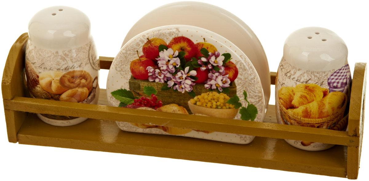 Набор для специй Polystar Хлеб, 4 предметаВетерок 2ГФНабор для специй и салфетница Хлеб выполнены из высококачественной керамики, на деревянной подставке. Благодаря своим компактным размерам не займет много места на вашей кухне. Солонка, перечница и салфетница декорированы ярким оригинальным рисунком. Набор Хлеб станет отличным подарком каждой хозяйке.