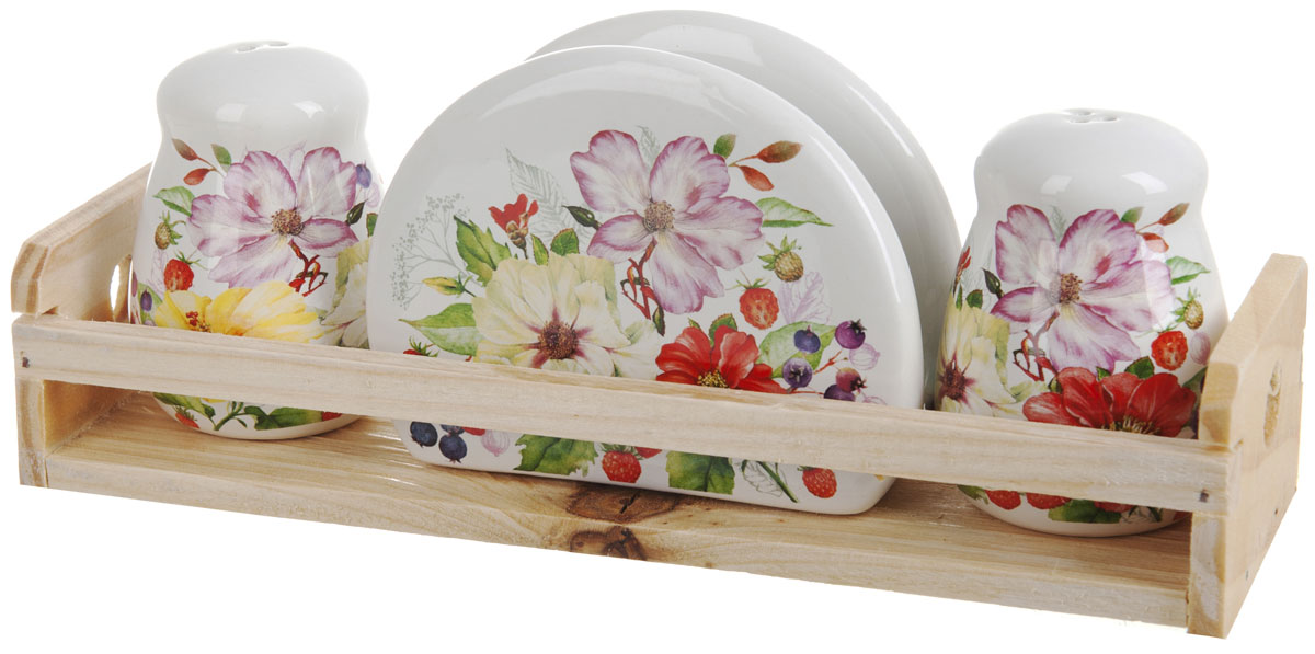 Набор для специй Polystar Summer, 4 предметаLU-1853Набор для специй и салфетница Summer выполнены из высококачественной керамики, на деревянной подставке. Благодаря своим компактным размерам не займет много места на вашей кухне. Солонка, перечница и салфетница декорированы оригинальным цветочным рисунком. Набор Summer станет отличным подарком каждой хозяйке.
