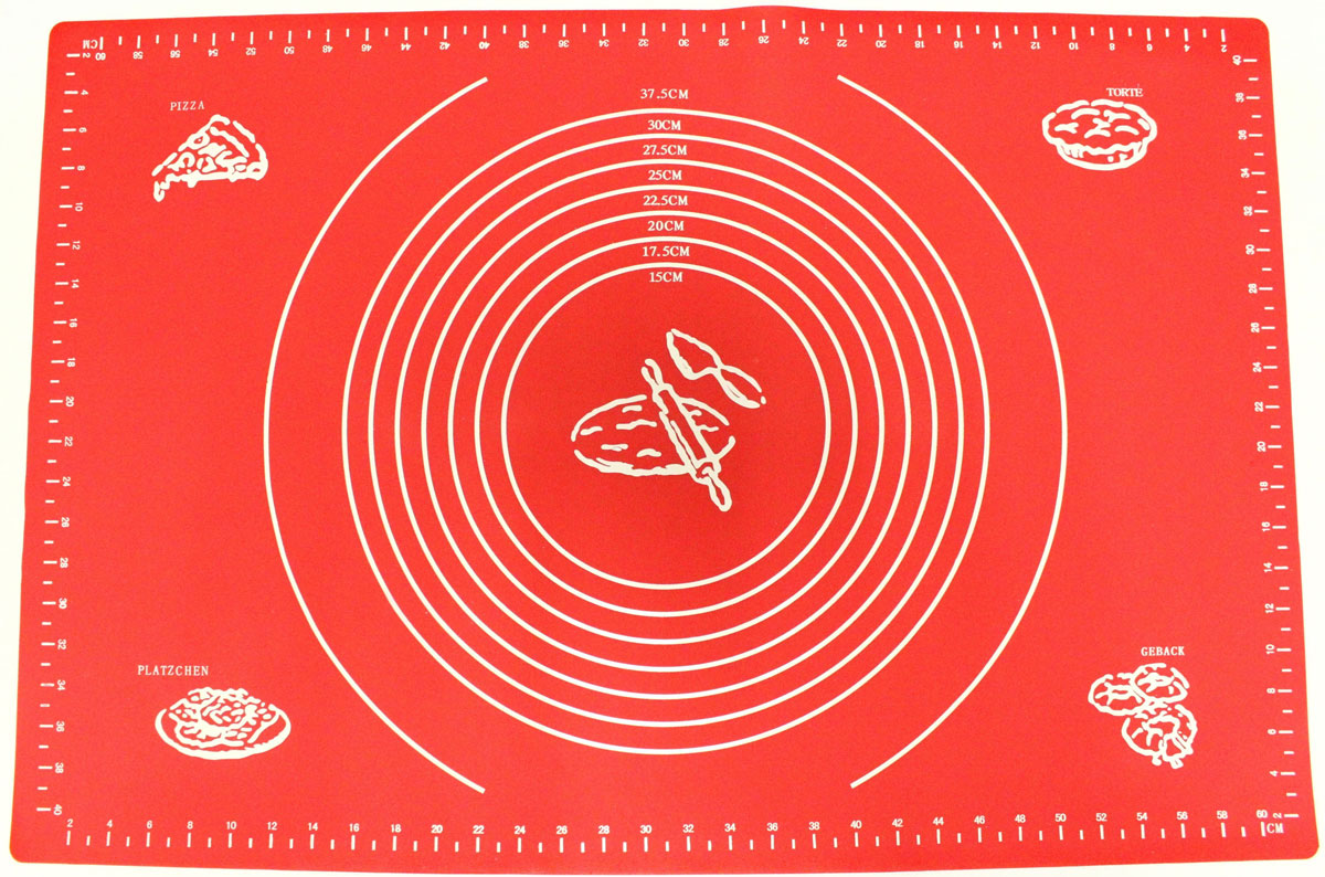 Коврик для выпечки Domodin, цвет: красный, 40 х 60 см68/5/4Коврик для выпечки изготовлен из силикона, поэтому легко гнется и выдерживает температуру до +230 °С. Предназначен для гигиеничного приготовления любой выпечки из теста. Коврик оснащен мерной шкалой по краям и круглым шаблоном для теста. Раскатывая тесто на таком коврике, вы всегда сможете придать ему нужный размер. Кроме того, тесто не прилипает. Коврик очень удобный и облегчит приготовление теста.