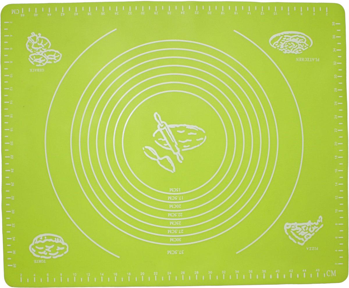 Коврик для выпечки Domodin, цвет: зеленый, 40 х 50 см40970Коврик для выпечки изготовлен из силикона, поэтому легко гнется и выдерживает температуру до +230 °С. Предназначен для гигиеничного приготовления любой выпечки из теста. Коврик оснащен мерной шкалой по краям и круглым шаблоном для теста. Раскатывая тесто на таком коврике, вы всегда сможете придать ему нужный размер. Кроме того, тесто не прилипает. Коврик очень удобный и облегчит приготовление теста.