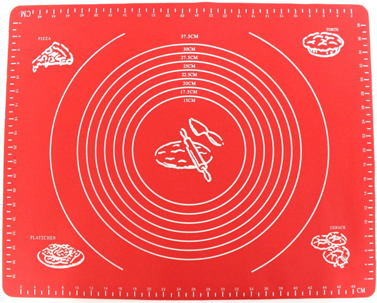 Коврик для выпечки Domodin, цвет: красный, 40 х 50 см115510Коврик для выпечки изготовлен из силикона, поэтому легко гнется и выдерживает температуру до +230 °С. Предназначен для гигиеничного приготовления любой выпечки из теста. Коврик оснащен мерной шкалой по краям и круглым шаблоном для теста. Раскатывая тесто на таком коврике, вы всегда сможете придать ему нужный размер. Кроме того, тесто не прилипает. Коврик очень удобный и облегчит приготовление теста.