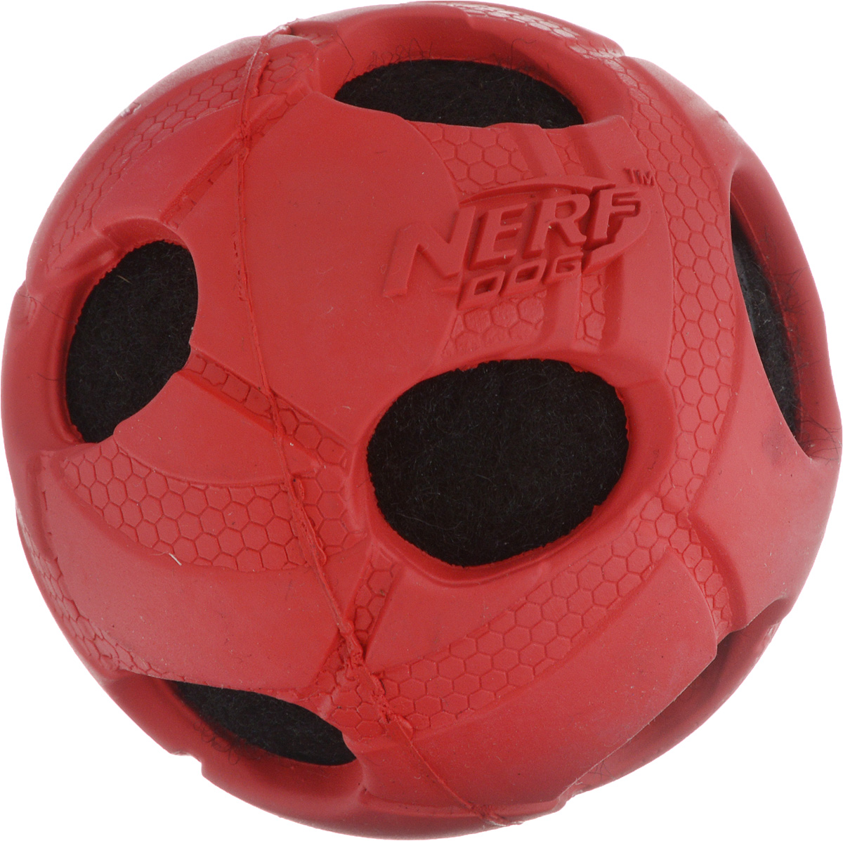 Игрушка для собак Nerf Мяч с отверстиями, диаметр 7,5 см75344Игрушка для собак Nerf Мяч с отверстиями выполнена из прочной резины с теннисным мячом внутри. Такая игрушка порадует вашего любимца, а вам доставит массу приятных эмоций, ведь наблюдать за игрой всегда интересно и приятно. Диаметр игрушки: 7,5 см.