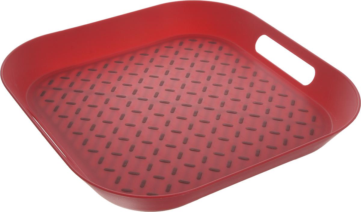 Поднос Zeller, цвет: красный, 34 х 34 х 4,3 см115510Оригинальный поднос Zeller, изготовленный из прочного пищевого пластика, станет незаменимым предметом для сервировки стола. Изделие снабжено специальными прорезиненными вставками, которые предотвращают скольжение посуды. Основание подноса также имеет резиновые вставки. Для удобства переноски предусмотрены удобные ручки и высокие бортики. Такой поднос станет полезным и практичным приобретением для вашей кухни.