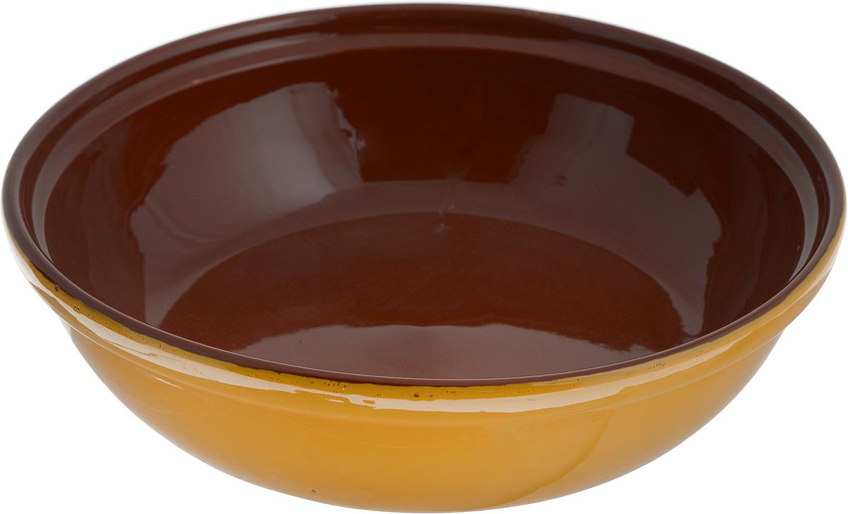 Салатник Борисовская керамика Модерн, цвет: желтый, коричневый, 1 л1444453Салатник Борисовская керамика Модерн выполнен из высококачественной глазурованной керамики. Этот удобный салатник придется по вкусу любителям здоровой и полезной пищи. Благодаря современной удобной форме, изделие многофункционально и может использоваться хозяйками на кухне как в виде салатника, так и для запекания продуктов, с последующим хранением в нем приготовленной пищи. Посуда термостойкая. Можно использовать в духовке и микроволновой печи. Диаметр (по верхнему краю): 22 см.Высота стенки: 6 см.