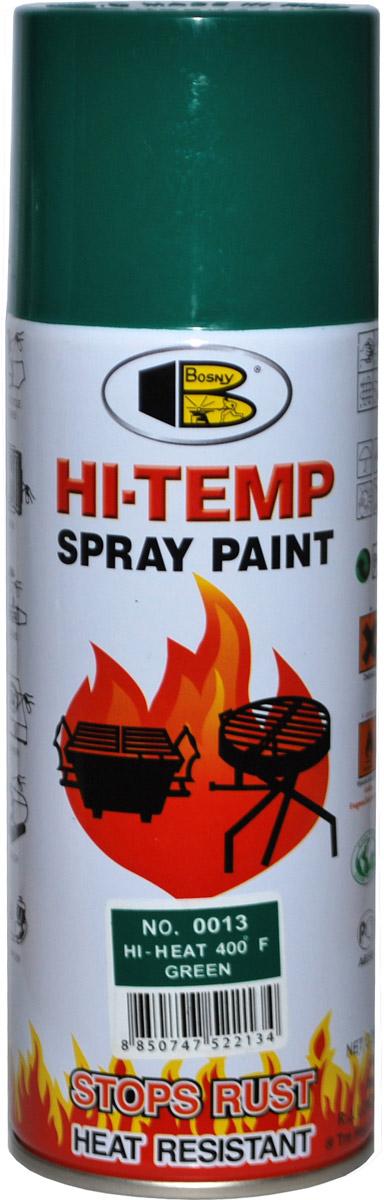 Аэрозольная краска Bosny, до 205°С, цвет: 0013 зеленый, 400 мл06008A7602Термостойкая краска производится из специальной смолы. Термостойкая краска выдерживает нагрев до 205 С. Не расслаивается и не отстает при воздействии высокой температуры. Для любителей делать ремонт быстро и оперативно термостойкая краска станет настоящей палочкой - выручалочкой, так как она содержит в своем составе быстросохнущие компоненты, которые позволяют выполнять все работы по покраске в кратчайшие сроки. В качестве защитного механизма у термостойкой краски включены в состав компоненты из микрочастиц закаленного стекла, которые позволяют обеспечивать необходимый барьер для влаги. Краска станет идеальным средством для работы на площадях, где есть резкий контраст температур. Она будет идеальна для покраски труб тепловых сетей, а также для использования на заводах и котельных, где оборудование и технические коммуникации испытывают большое температурное воздействие. Примечательно и то, что она может быть нанесена даже на ржавую поверхность, если есть необходимость сохранить участок этого материала, а средств на его замену нет. Она позволит усилить термо - защитные свойства любых материалов и повысить их сопротивляемость высокотемпературному воздействию. Срок годности — 5 лет.