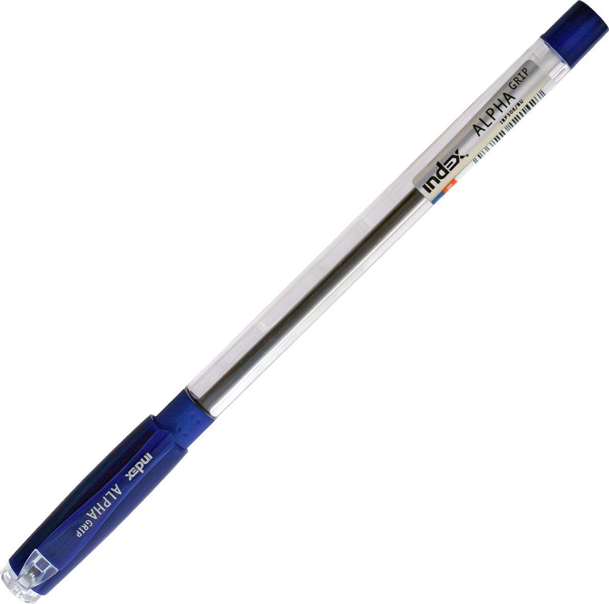Index Ручка шариковая Alpha Grip цвет чернил синийPP-220Прозрачный корпус с резиновым упором под пальцы. Колпачок и наконечник в цвет чернил. Чернила на масляной основе. Толщина линии - 0,5 мм. Диаметр шарика - 0,7 мм. Цвет чернил - синий. В пакете с европодвесом