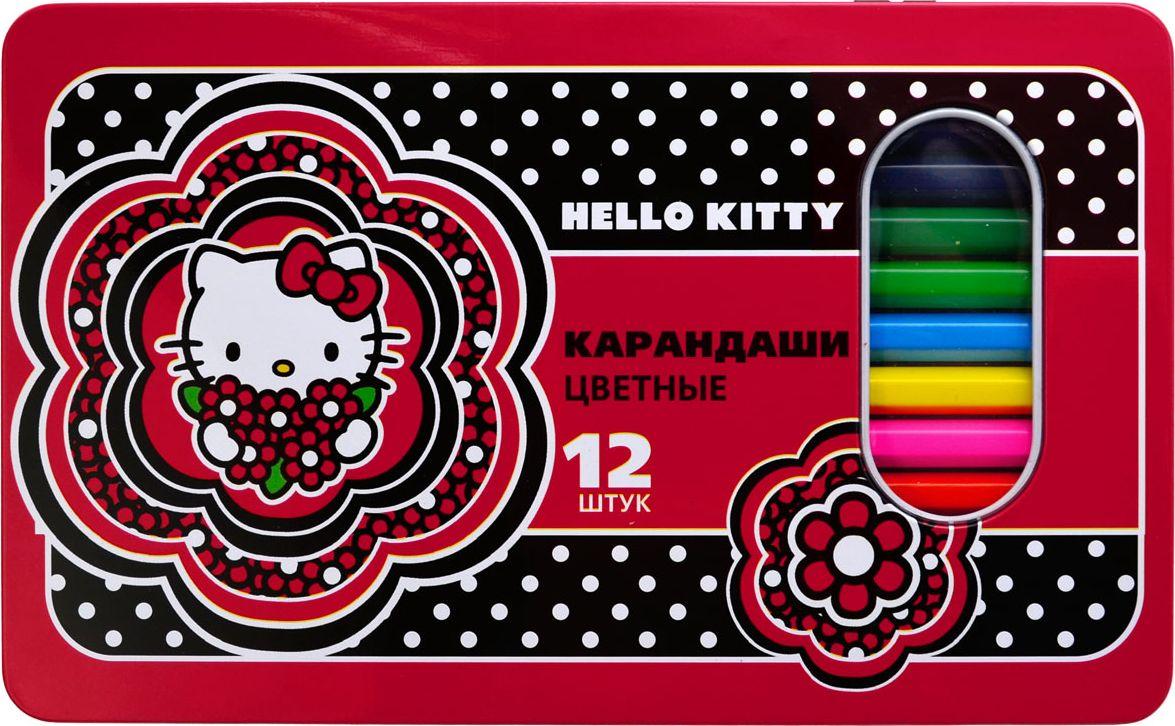 Action! Набор цветных карандашей Hello Kitty 12 цветов72523WDШестигранный корпус. Улучшенный грифель. 12 цветов. В металлической упаковке