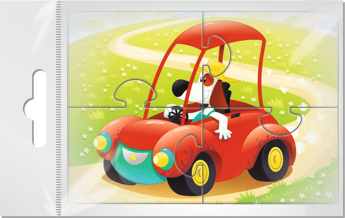 Издательская группа Квадра Пазл для малышей Собачка за рулем