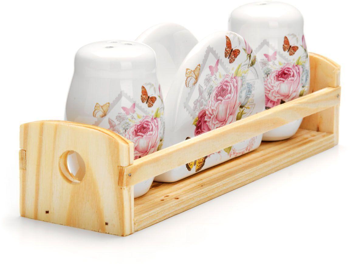 Набор для специй Loraine Батерфляй, 4 предмета. 26317LU-1853Набор для специй Loraine состоит из солонки, перечницы, салфетницы и деревянной подставки. Предметы набора выполнены из прочной доломитовой БИО и ЭКО керамики. Отверстия, в которые засыпаются специи, закрыты силиконовыми пробками. Благодаря своим небольшим размерам набор не займет много места на Вашей кухне. Дизайн, эстетичность и функциональность набора позволят ему стать достойным дополнением к кухонному инвентарю и украсить сервировку Вашего стола.