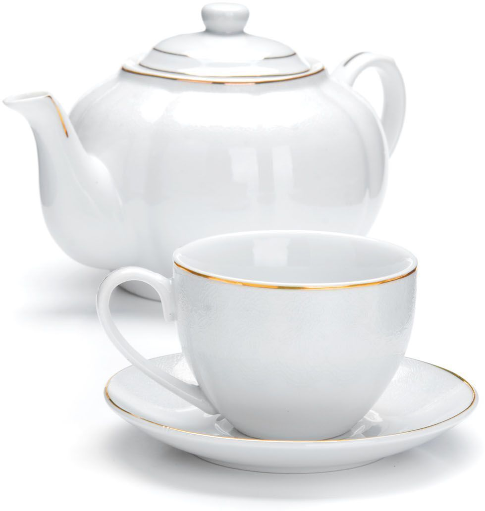 Чайный сервиз Loraine, 13 предметов. 264201405187Чайный набор Loraine на 6 персон, изготовленный из высококачественной керамики изысканного белого цвета, состоит из 6 чашек, 6 блюдец и заварочного чайника. Изделия набора украшены тонкой золотой каймой и имеют красивый и нежный дизайн. Набор придется по вкусу и ценителям классики, и тем, кто предпочитает утонченность и изысканность. Он настроит на позитивный лад и подарит хорошее настроение с самого утра. Набор упакован в подарочную упаковку.Такой чайный набор станет прекрасным украшением стола, а процесс чаепития превратится в одно удовольствие! Это замечательный выбор для подарка родным и друзьям! Объем чайника: 1 л. Объем чашки: 220 мл.