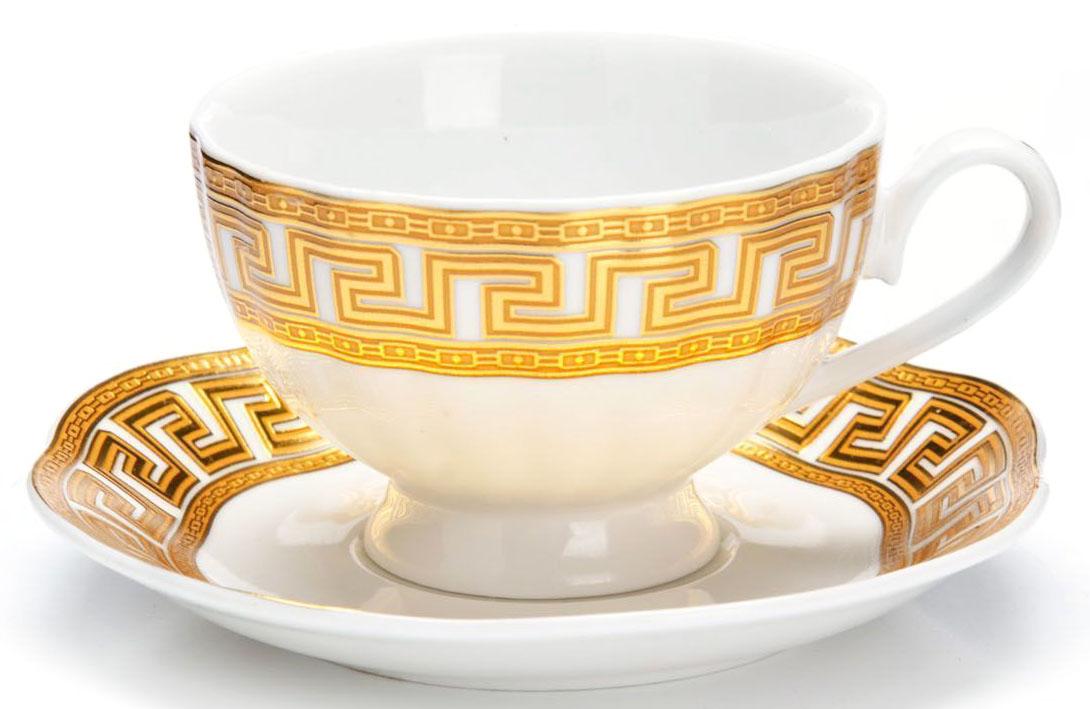 Кофейный сервиз Loraine, 110 мл, подарочная упаковка. 26443FS-91909Кофейный сервиз Loraine на 6 персон выполнен из высококачественной керамики белого цвета и украшен широким золотым орнаментом в греческом стиле. Изящный дизайн придется по вкусу и ценителям классики, и тем, кто предпочитает утонченность и изысканность. Набор упакован в подарочную коробку. Каждый предмет надежно зафиксирован внутри коробки благодаря специальным выемкам. Кофейный набор - идеальный и необходимый подарок для вашего дома и для ваших друзей в праздники, юбилеи и торжества! Также он станет отличным корпоративным подарком и украшением любой кухни. В наборе: 6 кофейных чашек, 6 блюдец.