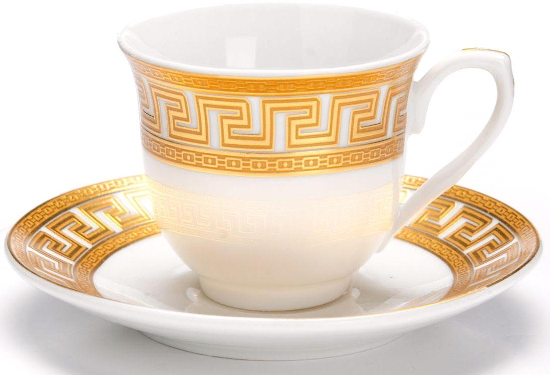 Кофейный сервиз Loraine, 80 мл, подарочная упаковка. 26447VT-1520(SR)Кофейный сервиз Loraine на 6 персон выполнен из высококачественной керамики белого цвета и украшен широким золотым орнаментом в греческом стиле. Изящный дизайн придется по вкусу и ценителям классики, и тем, кто предпочитает утонченность и изысканность. Набор упакован в подарочную коробку. Каждый предмет надежно зафиксирован внутри коробки благодаря специальным выемкам. Кофейный набор - идеальный и необходимый подарок для вашего дома и для ваших друзей в праздники, юбилеи и торжества! Также он станет отличным корпоративным подарком и украшением любой кухни. В наборе: 6 кофейных чашек, 6 блюдец.
