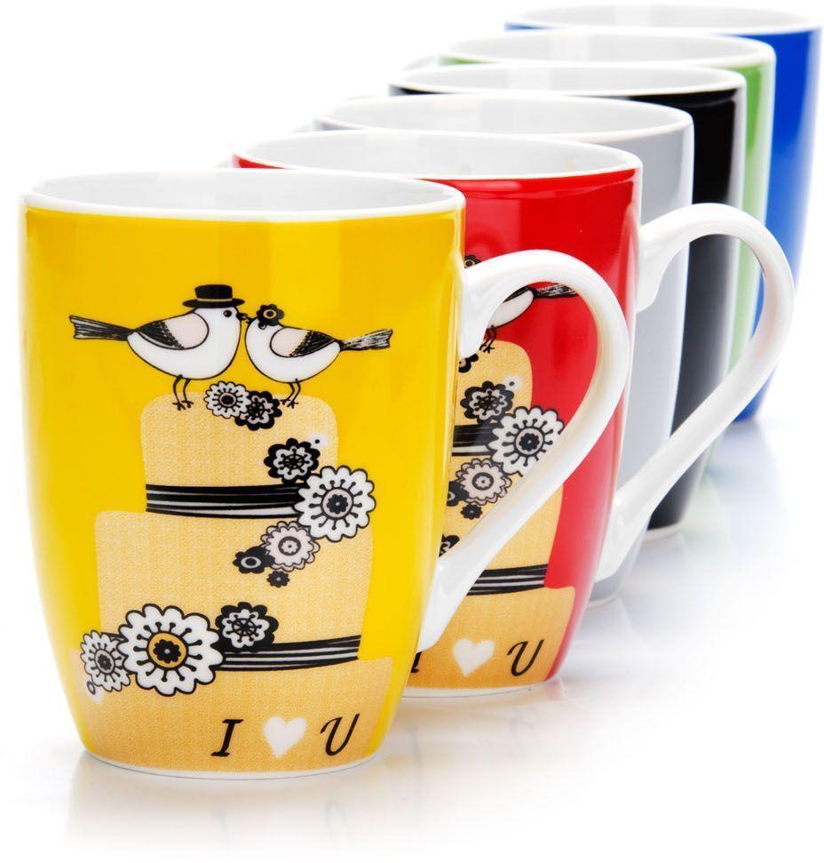 Набор кружек Loraine,на подставке, 350 мл, 7 предметов. 26525391602Набор Loraine состоит из 6 кружек и подставки. Кружки изготовлены из глазурованной керамики и оформлены оригинальным рисунком. Теплостойкие ручки обеспечивают комфортное использование. Кружки подходят для горячих и холодных напитков. Изящный дизайн придется по вкусу и ценителям классики, и тем, кто предпочитает современный стиль. Он настроит на позитивный лад и подарит хорошее настроение с самого утра. В комплекте - металлическая подставка с крючками для подвешивания кружек. Набор кружек - идеальный и необходимый подарок для вашего дома и для ваших друзей на праздники, юбилеи и торжества. Кружки подходят для мытья в посудомоечной машине, можно использовать в СВЧ и ставить в холодильник. Объем кружек: 350 мл. Диаметр кружки (по верхнему краю): 8,5 см. Высота кружки: 10 см. Размер подставки: 14 х 14 х 39 см.