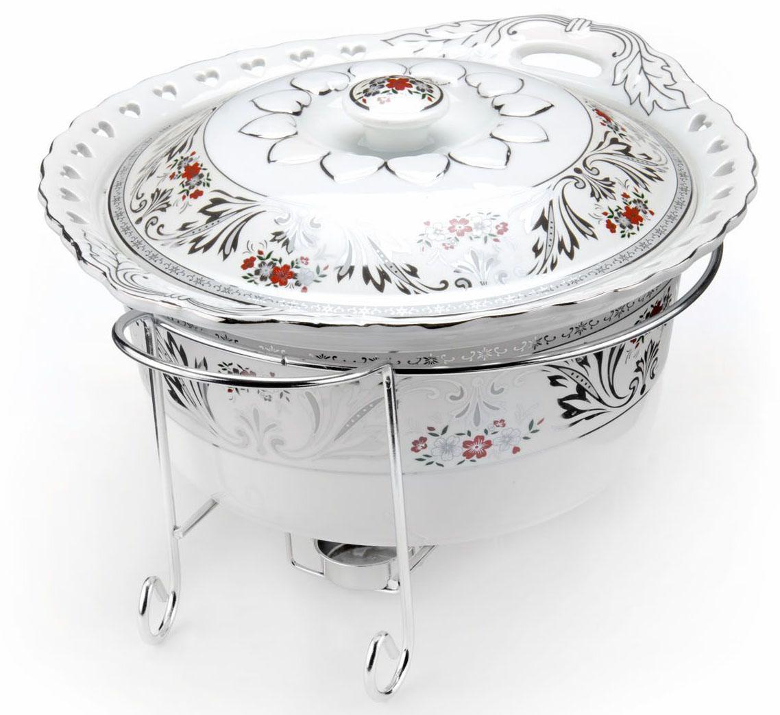 Мармит Loraine, керамика, 3,2 л, 3 предмета, со свечкой. 26531VT-1520(SR)Мармит Loraine выполнен из керамики белого цвета, украшенной рисунком. Керамическая чаша с удобными ручками располагается на стальной подставке с двумя подсвечниками для чайных свечей (входят в комплект). Свечи, устанавливающиеся на подставке, нагревают чашу снизу, таким образом поддерживая нужную температуру приготовленного блюда. Керамическая крышка с удобной ручкой плотно прикрывает чашу сверху, в свою очередь также не давая остыть блюду. Благодаря своему элегантному дизайну, мармит с приготовленным блюдом можно сразу подавать на стол, не перекладывая еду на сервировочные тарелки. Изящный, с современным дизайном, мармит украсит любой праздничный стол, а блюда в нем будут всегда теплыми и ароматными. Керамическая чаша (без подставки) подходит для использования в духовом шкафу и микроволновой печи. Подходит для мытья в посудомоечной машине. Подходит для хранения в холодильнике.
