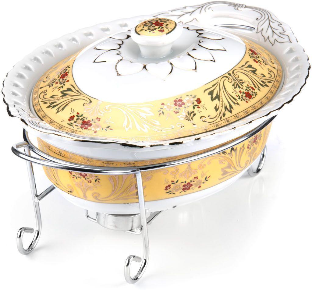 Мармит Loraine, 3 предмета, с 2 свечами, 1,8 л. 2653626536Мармит Loraine выполнен из керамики, украшенной рисунком. Керамическая чаша с удобными ручками располагается на стальной подставке с двумя подсвечниками для чайных свечей (входят в комплект). Свечи, устанавливающиеся на подставке, нагревают чашу снизу, таким образом, поддерживая нужную температуру приготовленного блюда.Керамическая крышка с удобной ручкой плотно прикрывает чашу сверху, в свою очередь, не давая остыть блюду.Благодаря своему элегантному дизайну, мармит с приготовленным блюдом можно сразу подавать на стол, не перекладывая еду на сервировочные тарелки. Изящный, с современным дизайном, мармит украсит любой праздничный стол, а блюда в нем будут всегда теплыми и ароматными.Керамическая чаша (без подставки) подходит для использования в духовом шкафу и микроволновой печи.Подходит для мытья в посудомоечной машине.Подходит для хранения в холодильнике.