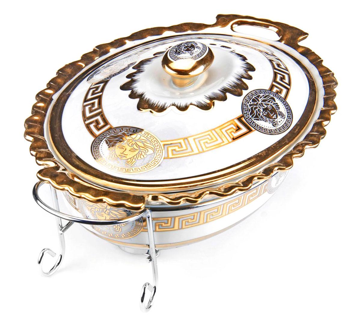 Мармит Loraine, 3 предмета, с 2 свечами, 2,5 л. 2654226542Мармит Loraine выполнен из керамики, украшенной рисунком. Керамическая чаша с удобными ручками располагается на стальной подставке с двумя подсвечниками для чайных свечей (входят в комплект). Свечи, устанавливающиеся на подставке, нагревают чашу снизу, таким образом, поддерживая нужную температуру приготовленного блюда.Керамическая крышка с удобной ручкой плотно прикрывает чашу сверху, в свою очередь, не давая остыть блюду.Благодаря своему элегантному дизайну, мармит с приготовленным блюдом можно сразу подавать на стол, не перекладывая еду на сервировочные тарелки. Изящный, с современным дизайном, мармит украсит любой праздничный стол, а блюда в нем будут всегда теплыми и ароматными.Керамическая чаша (без подставки) подходит для использования в духовом шкафу и микроволновой печи.Подходит для мытья в посудомоечной машине.Подходит для хранения в холодильнике.
