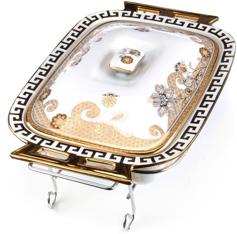 Мармит Loraine, керамика, 2,6 л, 3 предмета, со свечкой. 26543115510Мармит Loraine выполнен из керамики белого цвета, украшенной рисунком. Керамическая чаша с удобными ручками располагается на стальной подставке с двумя подсвечниками для чайных свечей (входят в комплект). Свечи, устанавливающиеся на подставке, нагревают чашу снизу, таким образом поддерживая нужную температуру приготовленного блюда. Керамическая крышка с удобной ручкой плотно прикрывает чашу сверху, в свою очередь также не давая остыть блюду. Благодаря своему элегантному дизайну, мармит с приготовленным блюдом можно сразу подавать на стол, не перекладывая еду на сервировочные тарелки. Изящный, с современным дизайном, мармит украсит любой праздничный стол, а блюда в нем будут всегда теплыми и ароматными. Керамическая чаша (без подставки) подходит для использования в духовом шкафу и микроволновой печи. Подходит для мытья в посудомоечной машине. Подходит для хранения в холодильнике.