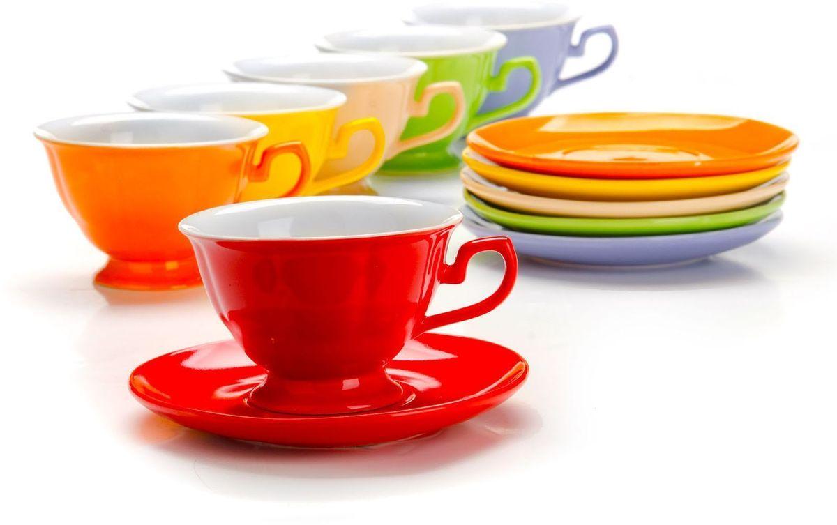 Чайный сервиз Loraine, 12 предметов, 240 мл. 26554115510Чайный набор Loraine на 6 персон, выполненный из качественной цветной керамики, состоит из 6 чашек и 6 блюдец. Изящный дизайн и красочность оформления придутся по вкусу и ценителям классики, и тем, кто предпочитает утонченность и изысканность.Чайный набор - идеальный и необходимый подарок для вашего дома и для ваших друзей в праздники, юбилеи и торжества! Набор настроит на позитивный лад и подарит хорошее настроение с самого утра!Чайный набор упакован в индивидуальную коробку.Объем чашки: 240 мл.