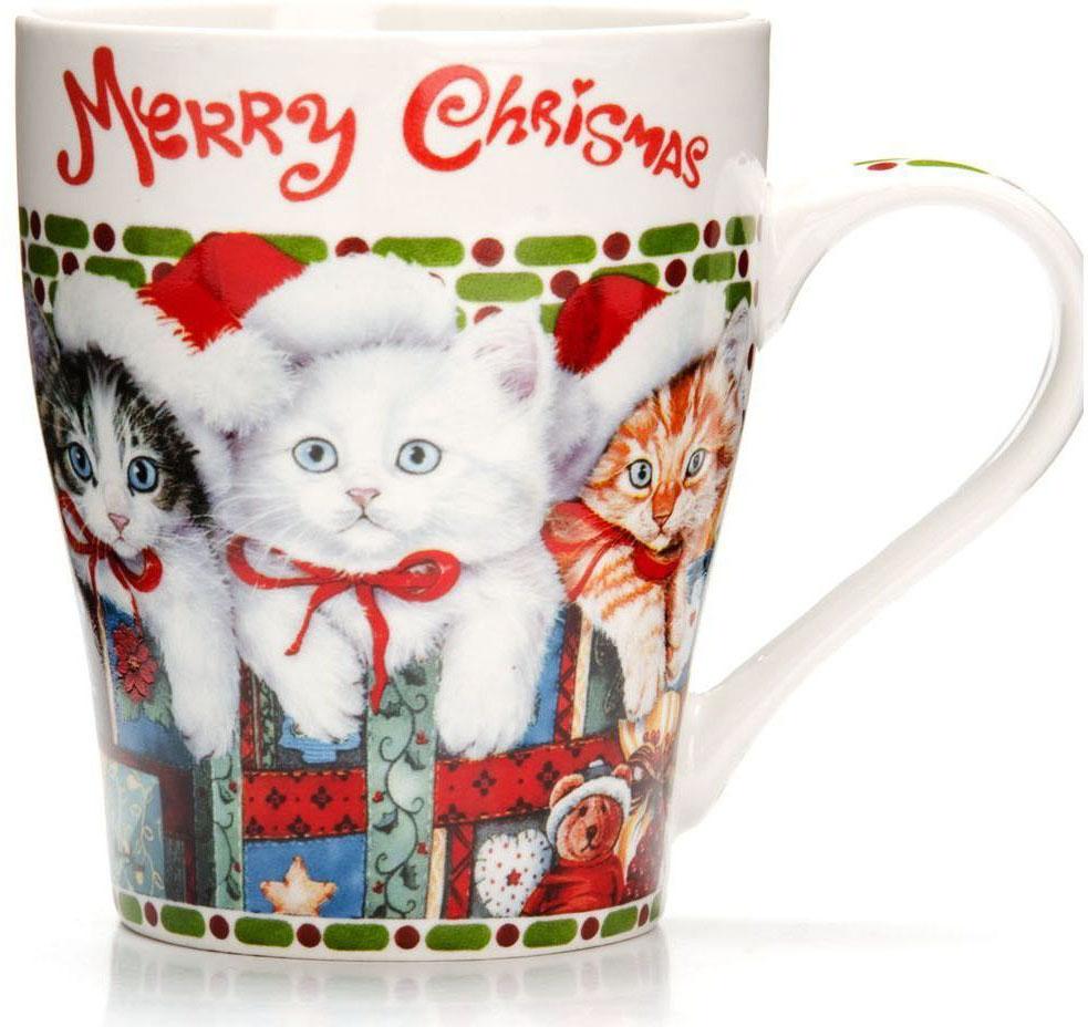 Кружка Loraine Christmas, 340 мл, подарочная упаковка. 26563-1115510Кружка Loraine, выполненная из костяного фарфора и украшенная ярким рисунком, станет красивым и полезным подарком для ваших родных и близких. Дизайн изделия придется по вкусу и ценителям классики, и тем, кто предпочитает утонченность и изысканность. Кружка Loraine настроит на позитивный лад и подарит хорошее настроение с самого утра. Изделие пригодно для использования в микроволновой печи и холодильника. Подходит для мытья в посудомоечной машине.