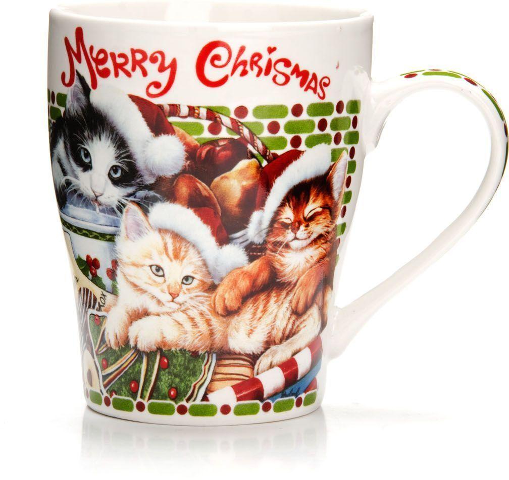 Кружка Loraine Christmas, 340 мл, подарочная упаковка. 26563FS-91909Кружка Loraine, выполненная из костяного фарфора и украшенная ярким рисунком, станет красивым и полезным подарком для ваших родных и близких. Дизайн изделия придется по вкусу и ценителям классики, и тем, кто предпочитает утонченность и изысканность. Кружка Loraine настроит на позитивный лад и подарит хорошее настроение с самого утра. Изделие пригодно для использования в микроволновой печи и холодильника. Подходит для мытья в посудомоечной машине.
