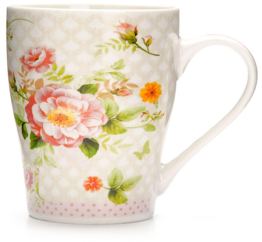 Кружка Loraine Цветы, 340 мл, подарочная упаковка. 26581-1115510Кружка Loraine, выполненная из костяного фарфора и украшенная ярким рисунком, станет красивым и полезным подарком для ваших родных и близких. Дизайн изделия придется по вкусу и ценителям классики, и тем, кто предпочитает утонченность и изысканность. Кружка Loraine настроит на позитивный лад и подарит хорошее настроение с самого утра. Изделие пригодно для использования в микроволновой печи и холодильника. Подходит для мытья в посудомоечной машине.