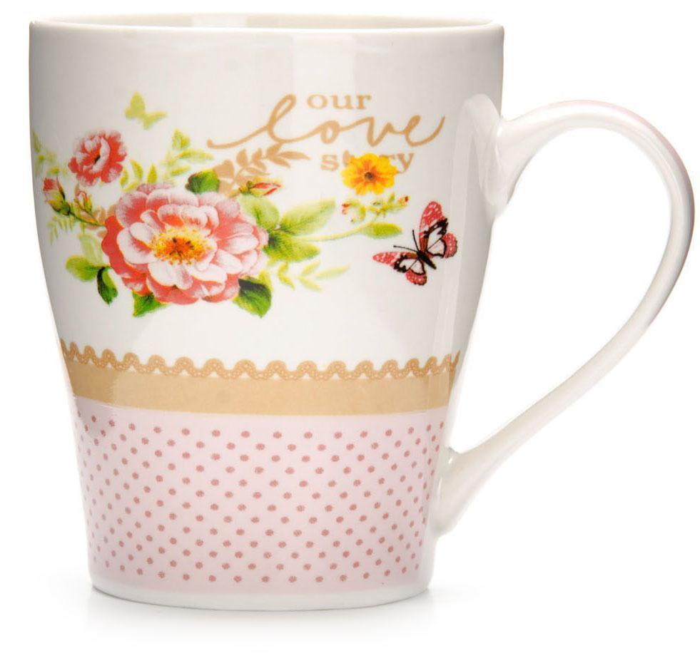 Кружка Loraine Цветы, 340 мл, подарочная упаковка. 26581-2115510Кружка Loraine, выполненная из костяного фарфора и украшенная ярким рисунком, станет красивым и полезным подарком для ваших родных и близких. Дизайн изделия придется по вкусу и ценителям классики, и тем, кто предпочитает утонченность и изысканность. Кружка Loraine настроит на позитивный лад и подарит хорошее настроение с самого утра. Изделие пригодно для использования в микроволновой печи и холодильника. Подходит для мытья в посудомоечной машине.