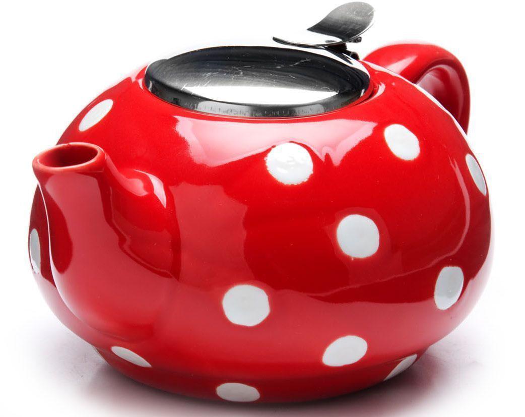 Заварочный чайник Loraine, цвет: красный, белый, 750 мл. 26596-168/5/4Заварочный чайник Loraine выполнен из высококачественной цветной керамики. Фильтр из нержавеющей стали для заваривания раскроет букет чая и не позволит чаинкам попасть в чашку. Удобная металлическая крышка поддержит нужную температуру для заваривания чая.Керамический чайник прост и удобен в применении, чайник легко мыть. Не ставьте чайник на открытый огонь и нагревающиеся поверхности.Подходит для мытья в посудомоечной машине.