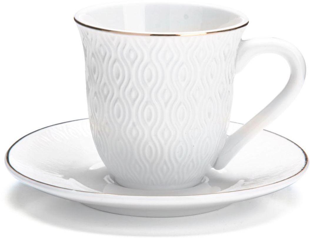 Кофейный сервиз Loraine, 90 мл, 12 предметов. 2682126554Кофейный набор на 6 персон Loraine выполнен из высококачественного костяного фарфора - материала безопасного для здоровья и надолго сохраняющего тепло напитка.Несмотря на свою внешнюю хрупкость, каждый из предметов набора обладает высокой прочностью и